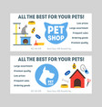 cartoon pet shop banner or flyer set vector image vector image