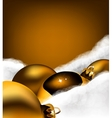 Christmas gold toy on Cotton wool vector image vector image