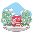 christmas santa claus with gift in the snowscape vector image