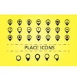 City places icons and 5 different map marks vector image