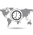 clock time social media world map vector image vector image