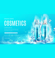 cosmetics bottles in dry ice steaming cubes mockup vector image vector image