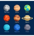 Cosmic icon set of planets solar system vector image vector image