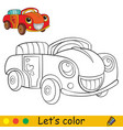 cute cartoon smiling car coloring book page vector image