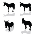 Donkey four animal black silhouette vector image