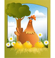 Easter card with chickens vector image