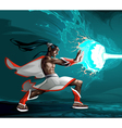 Elf is creating a lighting with magic power vector image vector image