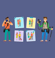 family photographers with cameras taking photos vector image vector image