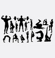 fitness and body building silhouette vector image vector image