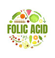 folic acid banner template healthy vitamin food vector image