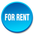 for rent blue round flat isolated push button vector image vector image