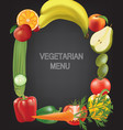 frame made from fruits and vegetables vector image