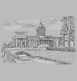 grey hand drawing st petersburg 5 vector image