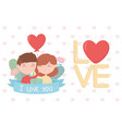 happy valentines day cute couple with balloon vector image