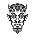 horned devil head monochrome vector image vector image