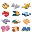 house slippers set soft comfortable slip on shoe vector image vector image
