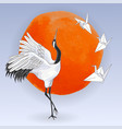 japanese dancing crane and paper birds over sunset vector image