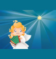 kid angel musician flying on a night sky making vector image vector image