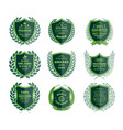 luxury green badges laurel wreath templates vector image vector image