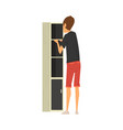 man assembling and installing new cupboard manual vector image