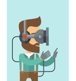 Man with virtual reality headset vector image