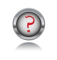 metal button with red question sign vector image vector image