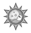 moon with stars - stylized as engraving