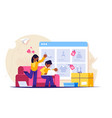 online shopping a man and a woman shop at an vector image vector image