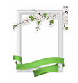photo frame blooming branch green ribbon vector image vector image
