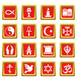 religion icons set red square vector image vector image