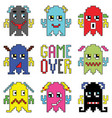 Retro game over game characters vector image