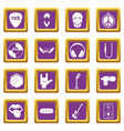rock music icons set purple vector image vector image
