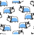 Seamless pattern with cute doodle musk-ox vector image vector image