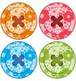 sewing buttons set red orange blue and green vector image