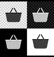 shopping basket icon isolated on black white and vector image
