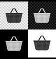 Shopping basket icon isolated on black white and