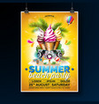 summer beach party flyer design with ice vector image