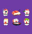 sushi cartoon characters set asian food cute vector image vector image