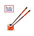 sushi chopsticks black caviar salmonrice vector image vector image