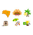 travel to brazil set famous symbols and vector image