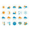 weather simple color flat icons set vector image