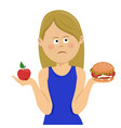 woman chooses between junk food and healthy diet vector image vector image