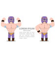 wrestlers two athletes in purple tights and masks vector image