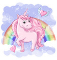 fantastic postcard with unicorn rainbow and vector image