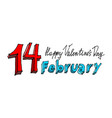 14 february lettering valentines day emblem vector image vector image