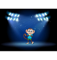 A young monkey at the stage with spotlights vector image vector image