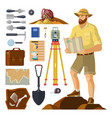 archaeologist near archaeology items paleontology vector image