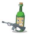 army wine bottle character cartoon