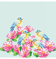 blooming tree and pigeons vector image vector image