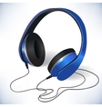 Blue isolated headphones emblem vector image